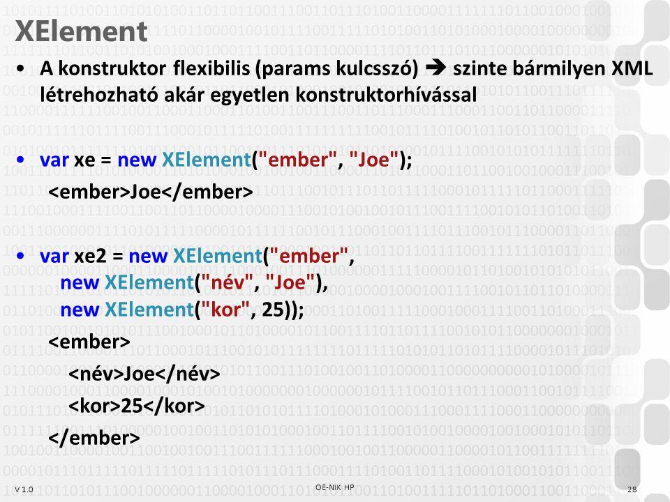 XElement A konstruktor flexibilis (params kulcsszó)  szinte bármilyen XML létrehozható akár egyetlen konstruktorhívással.