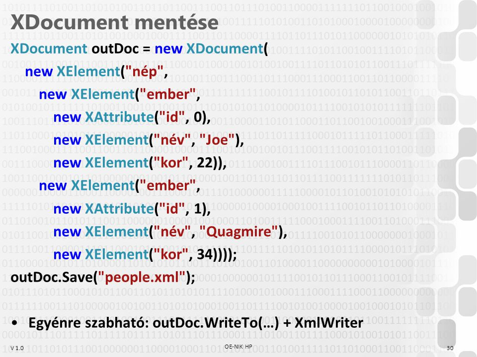 XDocument mentése XDocument outDoc = new XDocument(
