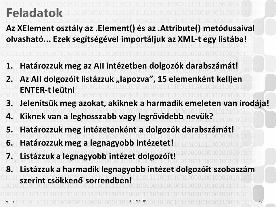 Feladatok Az XElement osztály az .Element() és az .Attribute() metódusaival olvasható... Ezek segítségével importáljuk az XML-t egy listába!