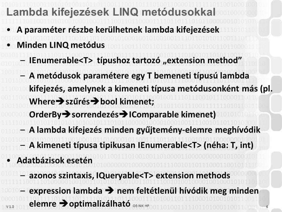 Lambda kifejezések LINQ metódusokkal