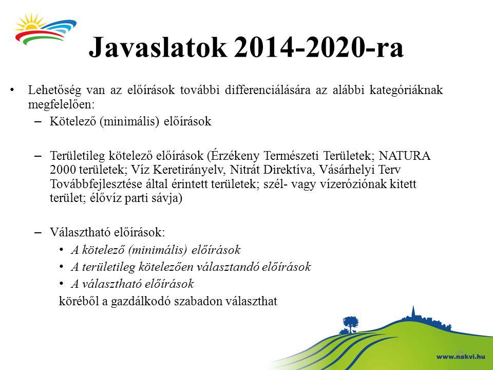 Javaslatok 2014-2020-ra Lehetőség van az előírások további differenciálására az alábbi kategóriáknak megfelelően: