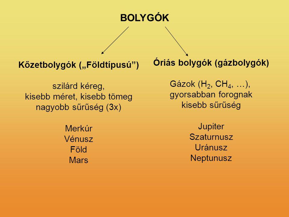 """Óriás bolygók (gázbolygók) Kőzetbolygók (""""Földtípusú )"""