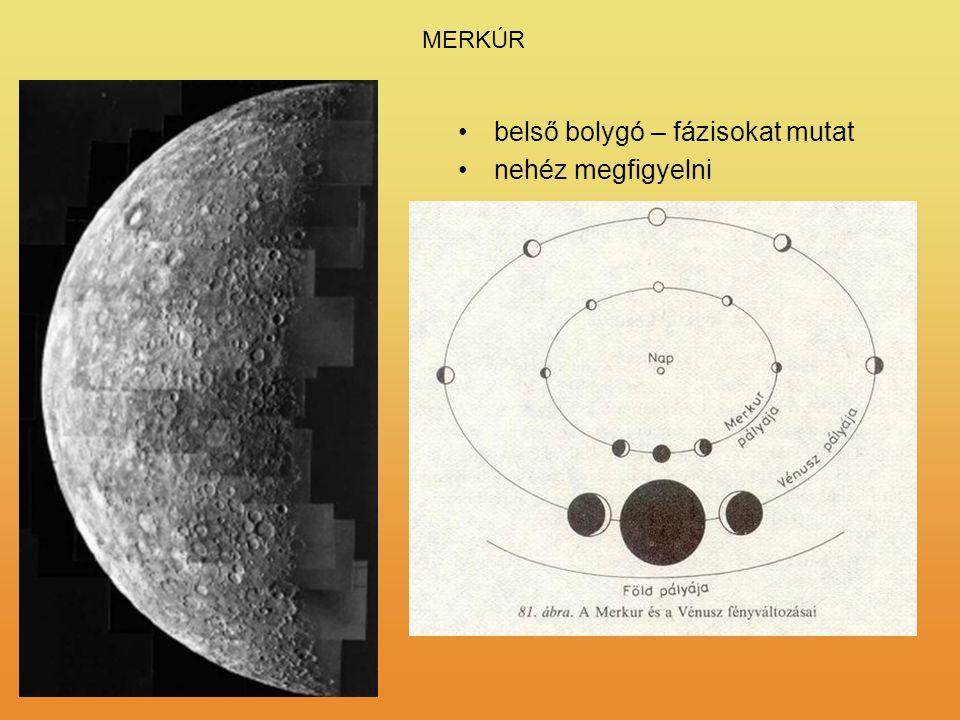 belső bolygó – fázisokat mutat nehéz megfigyelni R = 2440 km