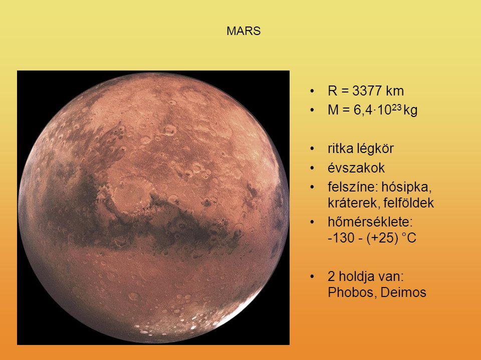 felszíne: hósipka, kráterek, felföldek hőmérséklete: -130 - (+25) °C