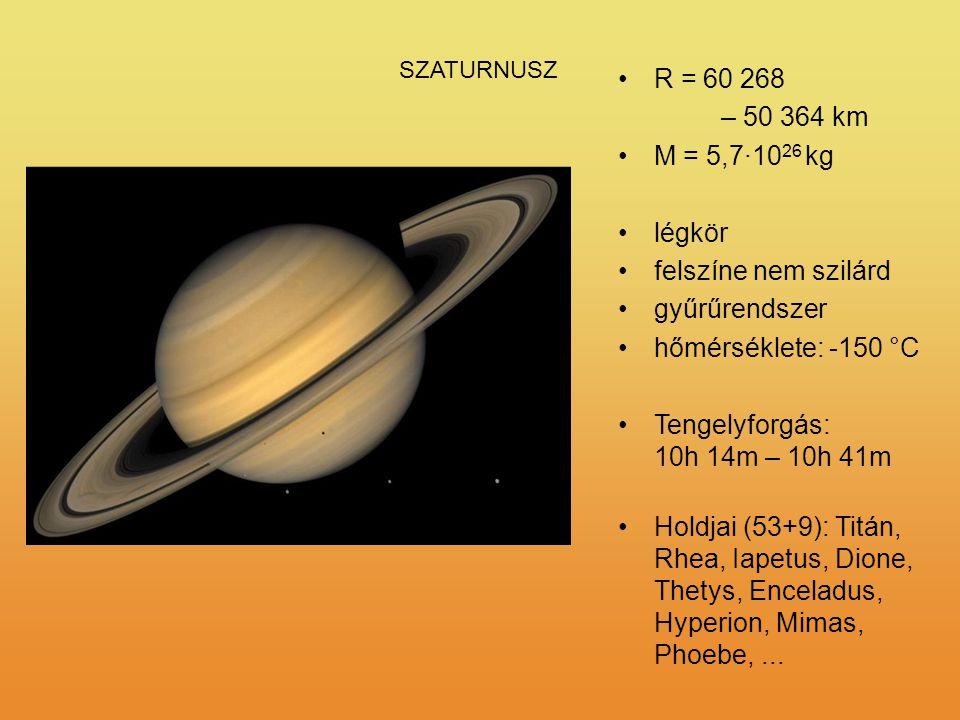 R = 60 268 – 50 364 km M = 5,7·1026 kg légkör felszíne nem szilárd