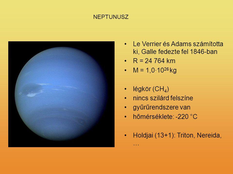 Le Verrier és Adams számította ki, Galle fedezte fel 1846-ban