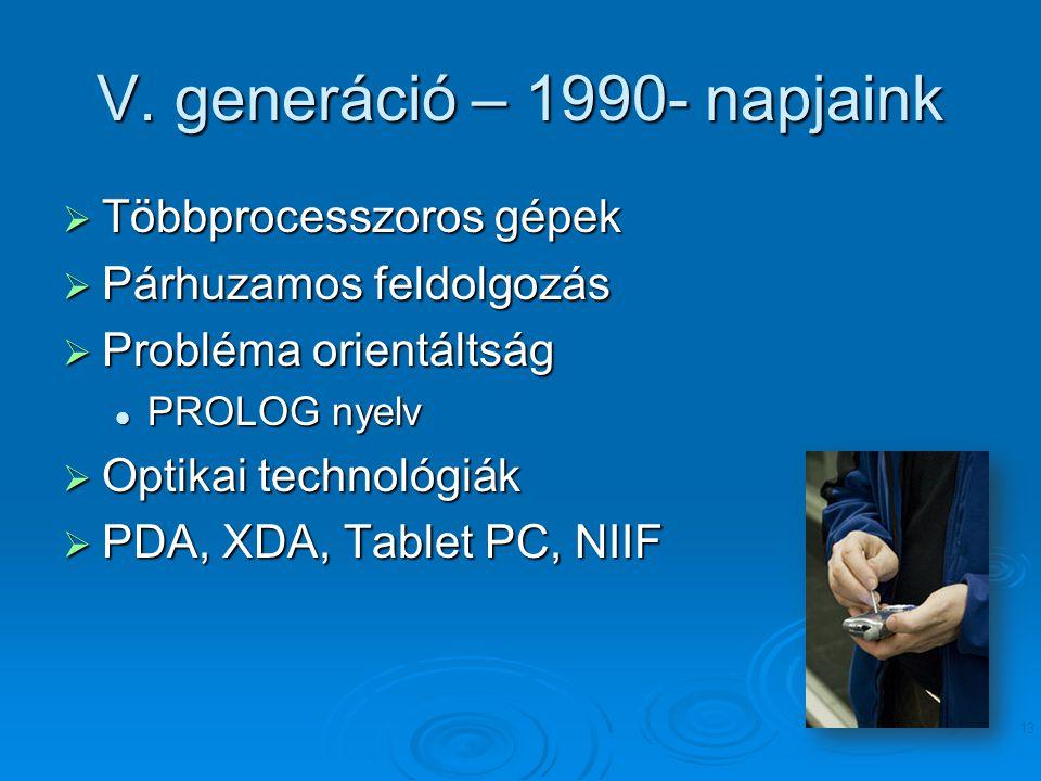 V. generáció – 1990- napjaink