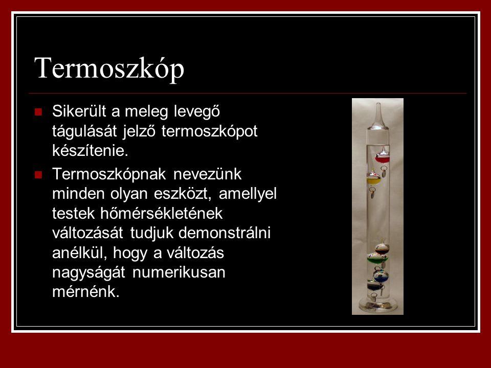Termoszkóp Sikerült a meleg levegő tágulását jelző termoszkópot készítenie.