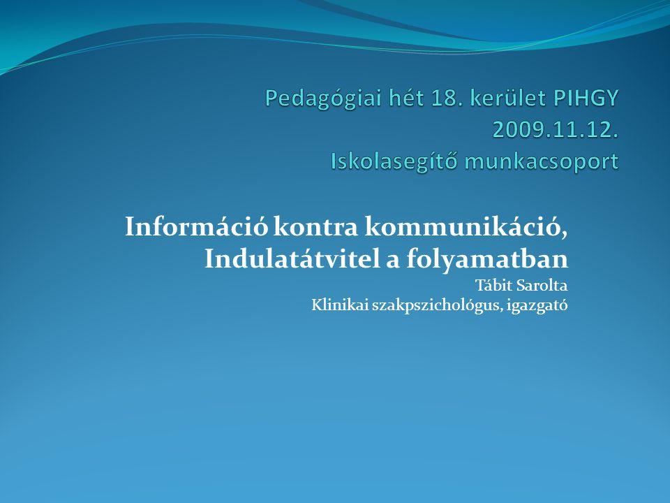 Pedagógiai hét 18. kerület PIHGY 2009.11.12. Iskolasegítő munkacsoport