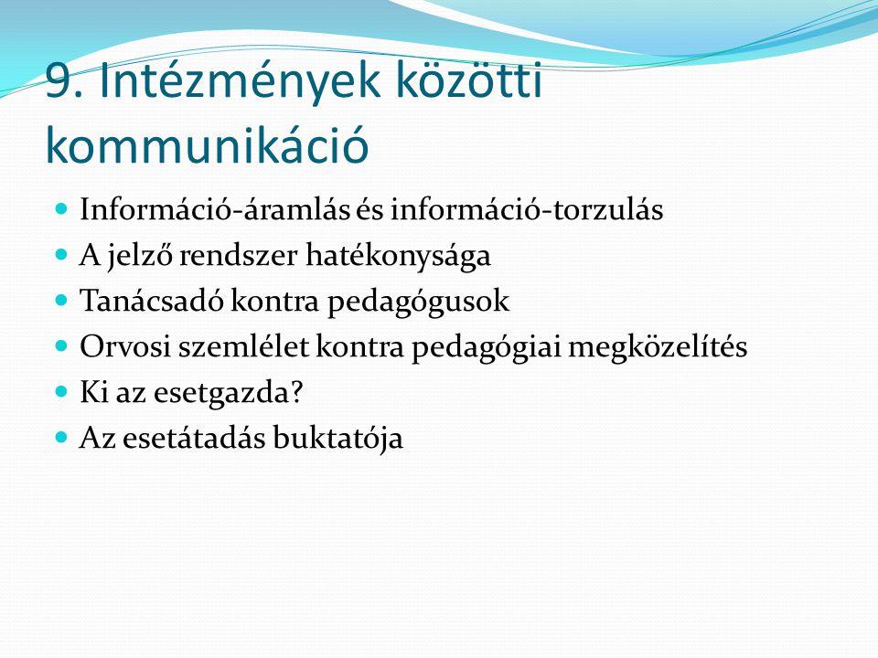 9. Intézmények közötti kommunikáció