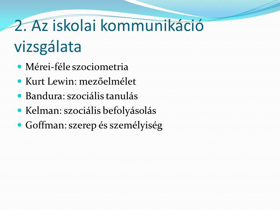 2. Az iskolai kommunikáció vizsgálata