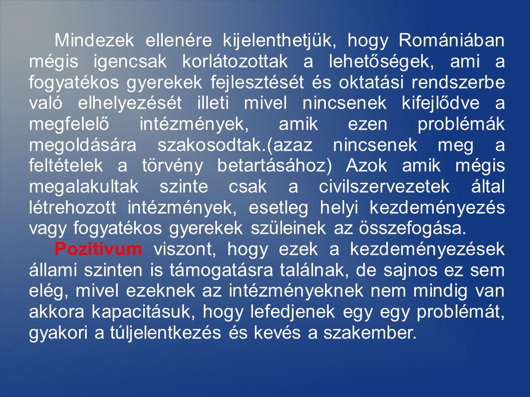 Mindezek ellenére kijelenthetjük, hogy Romániában mégis igencsak korlátozottak a lehetőségek, ami a fogyatékos gyerekek fejlesztését és oktatási rendszerbe való elhelyezését illeti mivel nincsenek kifejlődve a megfelelő intézmények, amik ezen problémák megoldására szakosodtak.(azaz nincsenek meg a feltételek a törvény betartásához) Azok amik mégis megalakultak szinte csak a civilszervezetek által létrehozott intézmények, esetleg helyi kezdeményezés vagy fogyatékos gyerekek szüleinek az összefogása.
