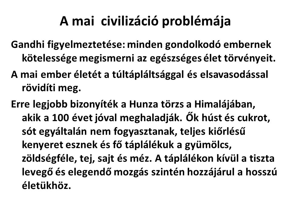 A mai civilizáció problémája