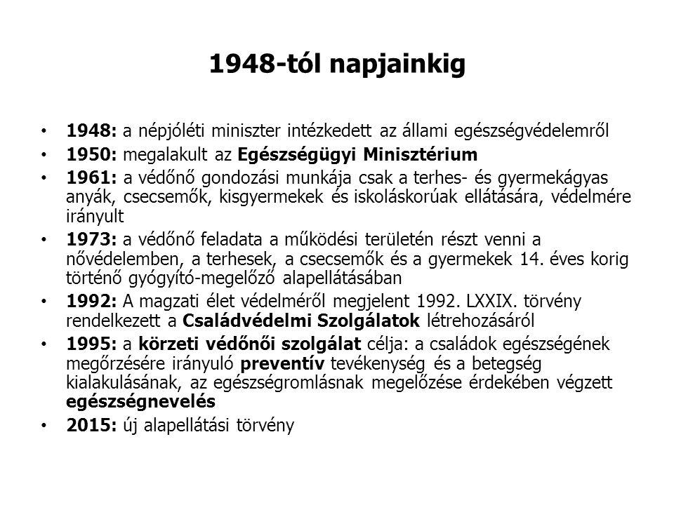 1948-tól napjainkig 1948: a népjóléti miniszter intézkedett az állami egészségvédelemről. 1950: megalakult az Egészségügyi Minisztérium.