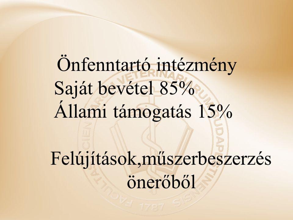 Önfenntartó intézmény Saját bevétel 85% Állami támogatás 15%