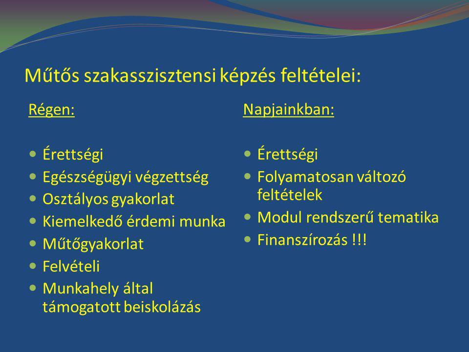 Műtős szakasszisztensi képzés feltételei: