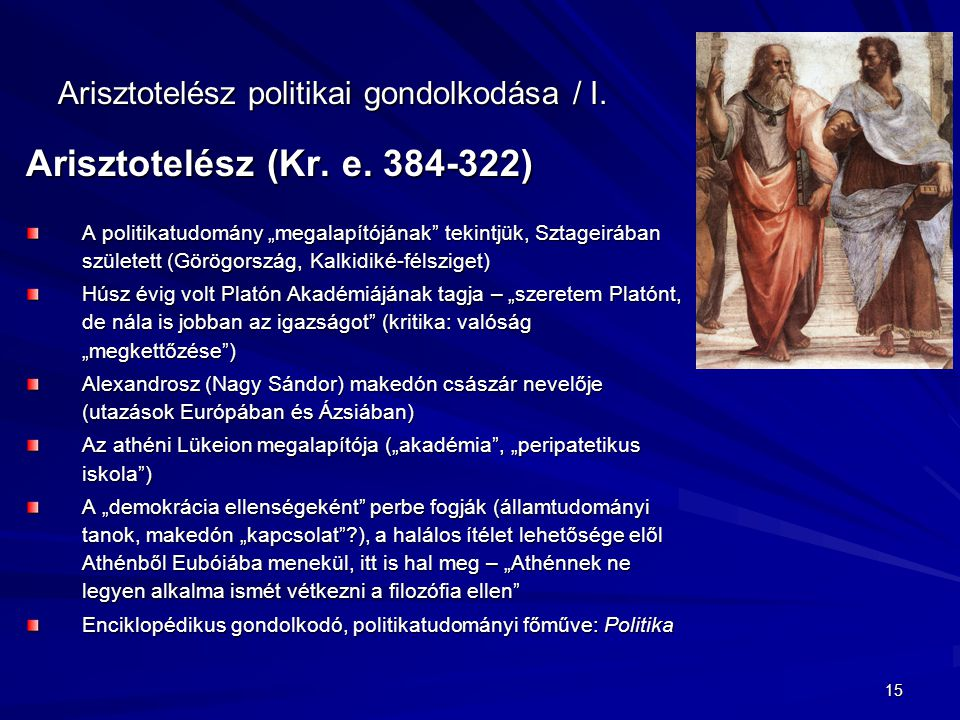 Arisztotelész politikai gondolkodása / I.