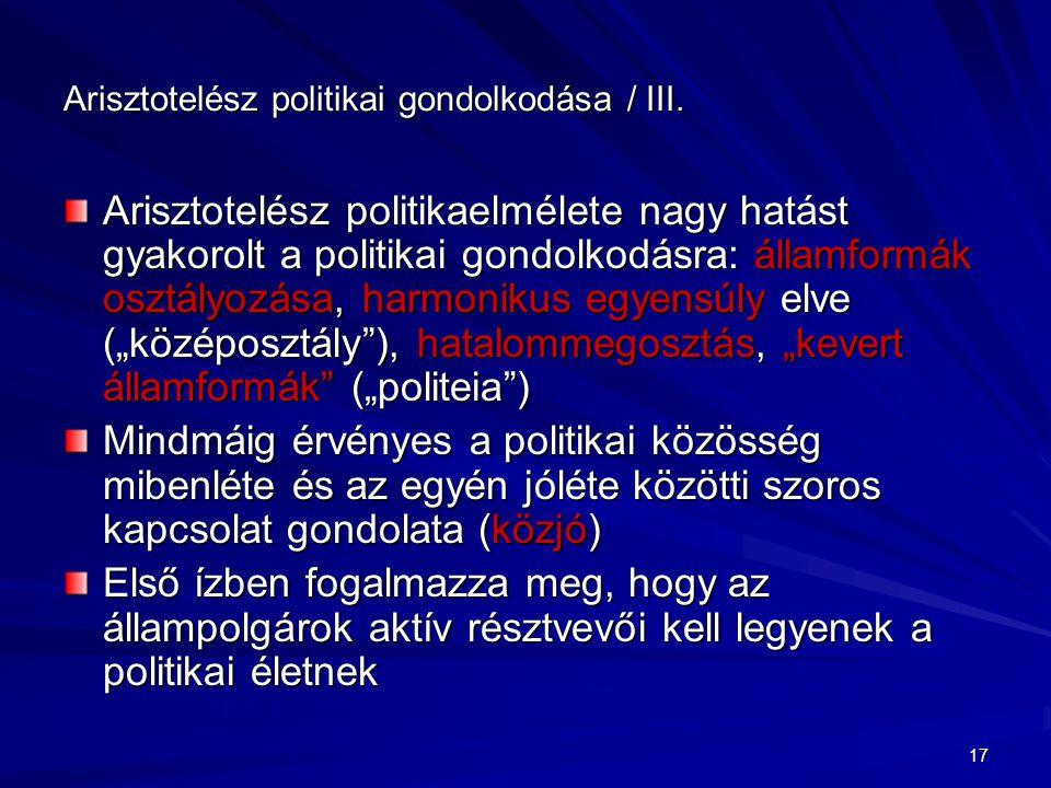 Arisztotelész politikai gondolkodása / III.