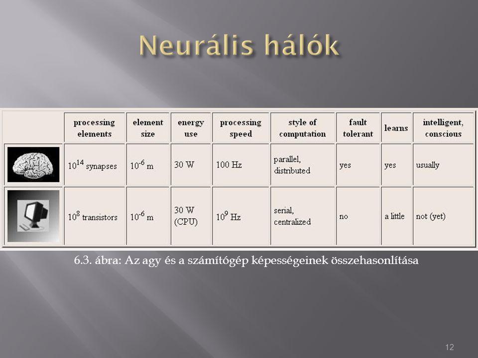 6.3. ábra: Az agy és a számítógép képességeinek összehasonlítása