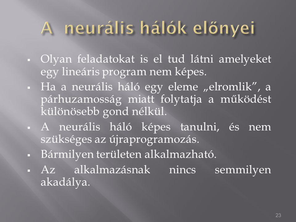A neurális hálók előnyei