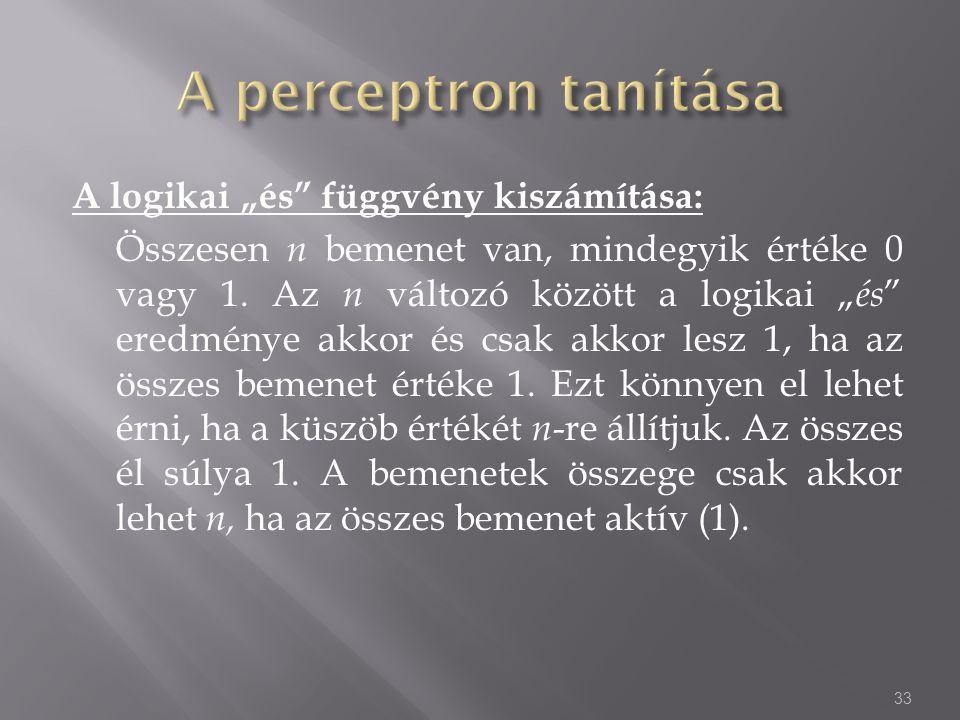 A perceptron tanítása