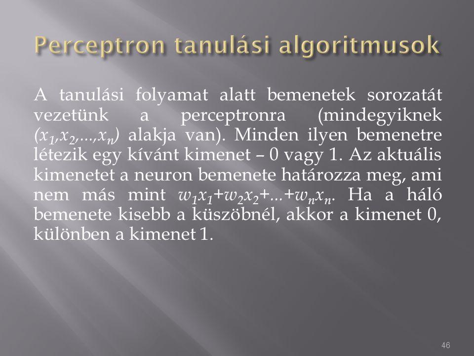 Perceptron tanulási algoritmusok