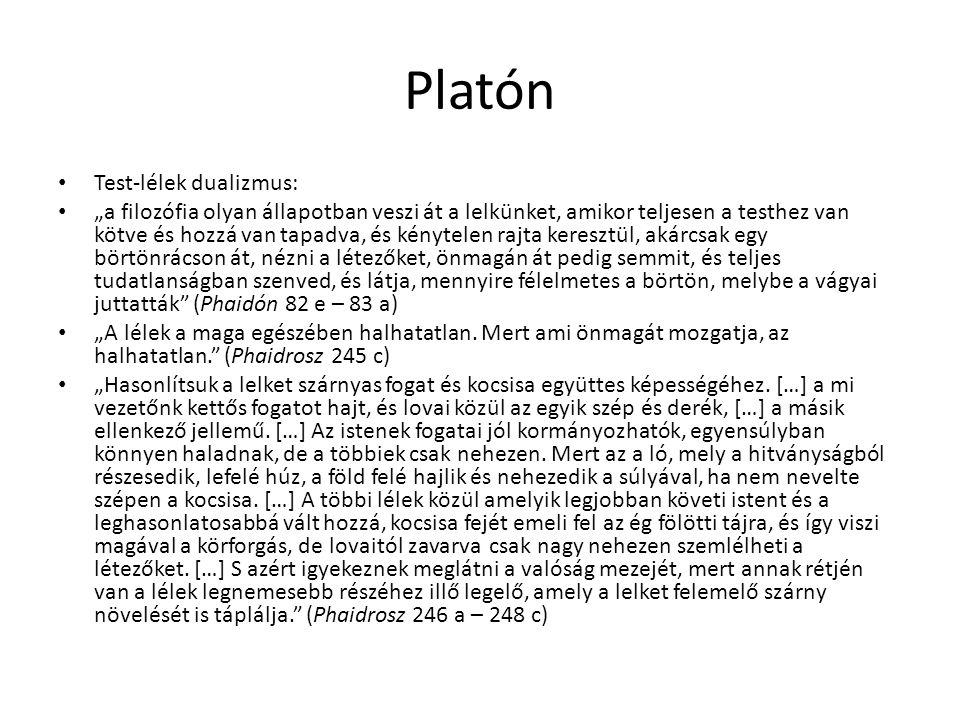 Platón Test-lélek dualizmus: