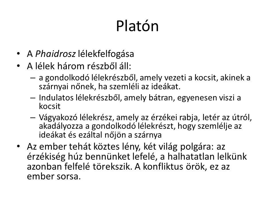 Platón A Phaidrosz lélekfelfogása A lélek három részből áll: