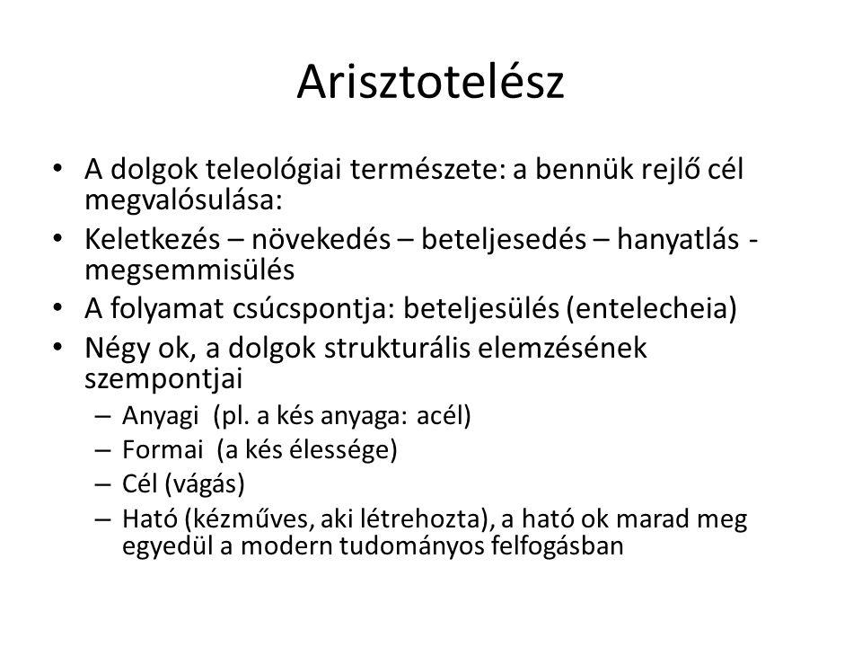 Arisztotelész A dolgok teleológiai természete: a bennük rejlő cél megvalósulása: Keletkezés – növekedés – beteljesedés – hanyatlás - megsemmisülés.