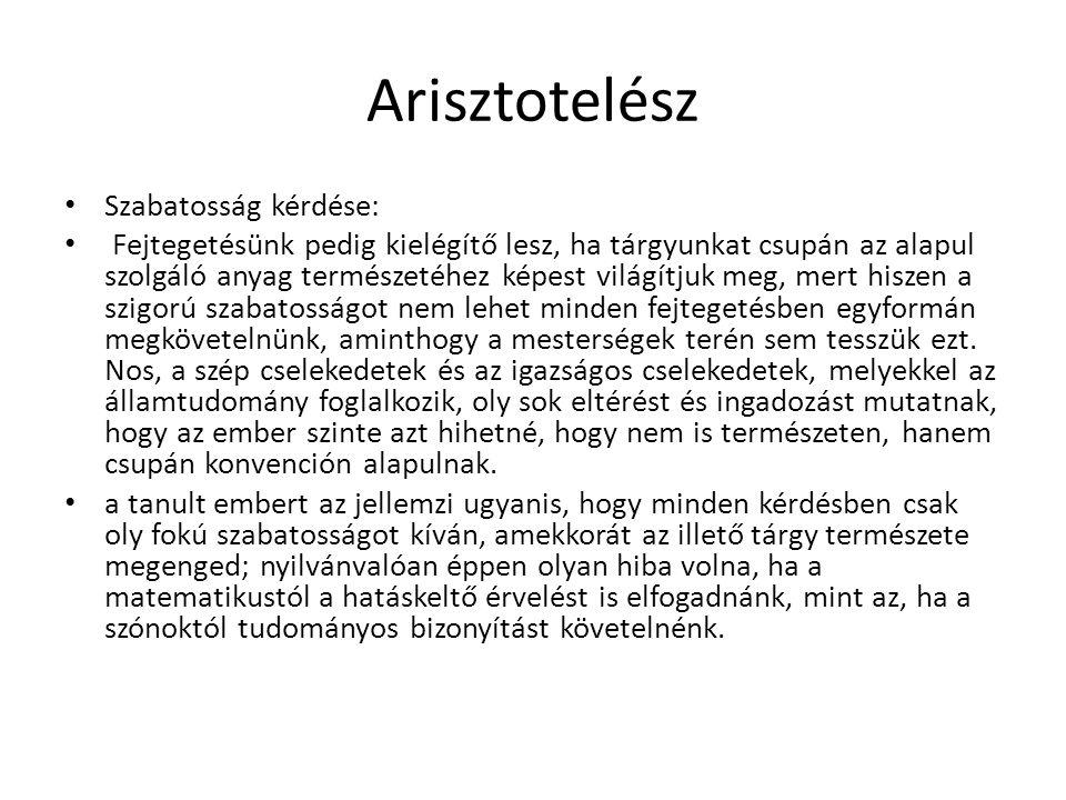 Arisztotelész Szabatosság kérdése: