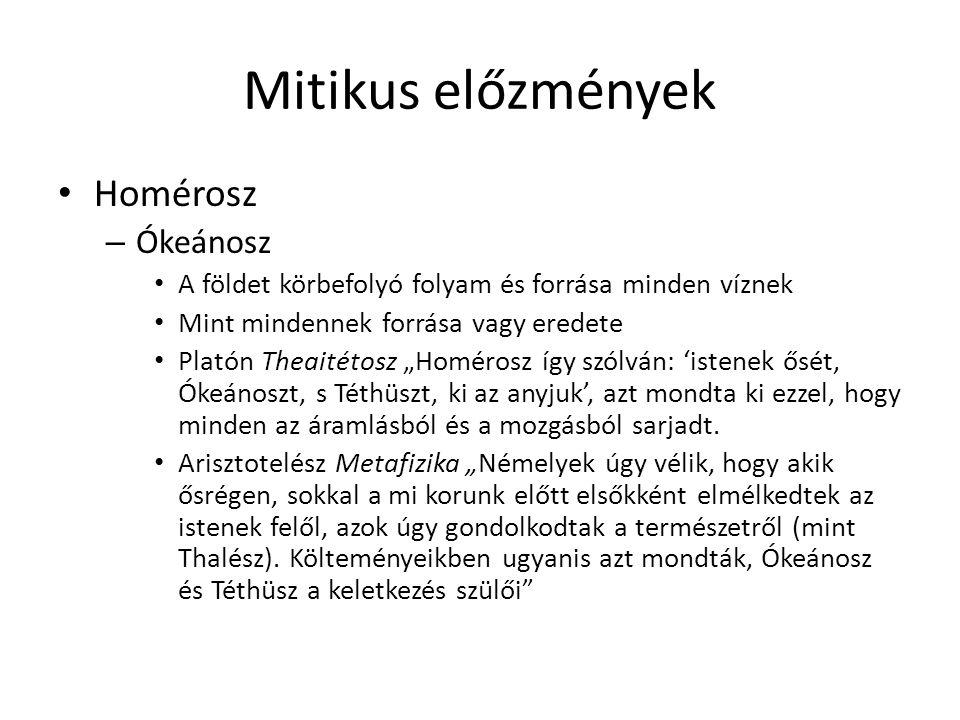 Mitikus előzmények Homérosz Ókeánosz