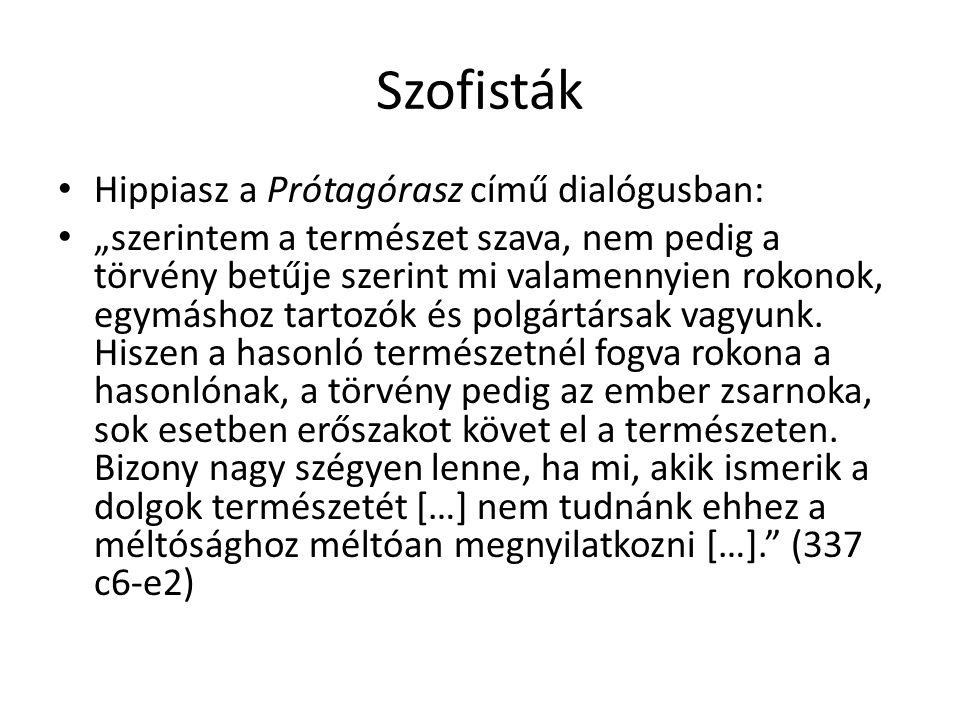 Szofisták Hippiasz a Prótagórasz című dialógusban: