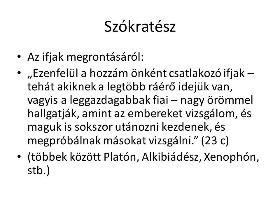 Szókratész Az ifjak megrontásáról: