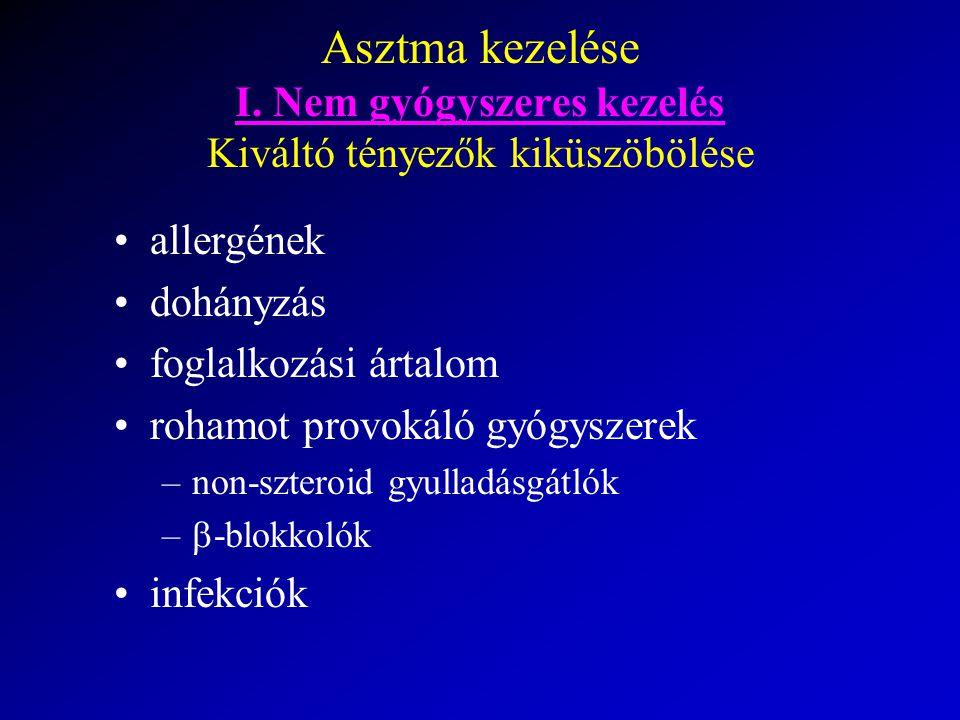Asztma kezelése I. Nem gyógyszeres kezelés Kiváltó tényezők kiküszöbölése