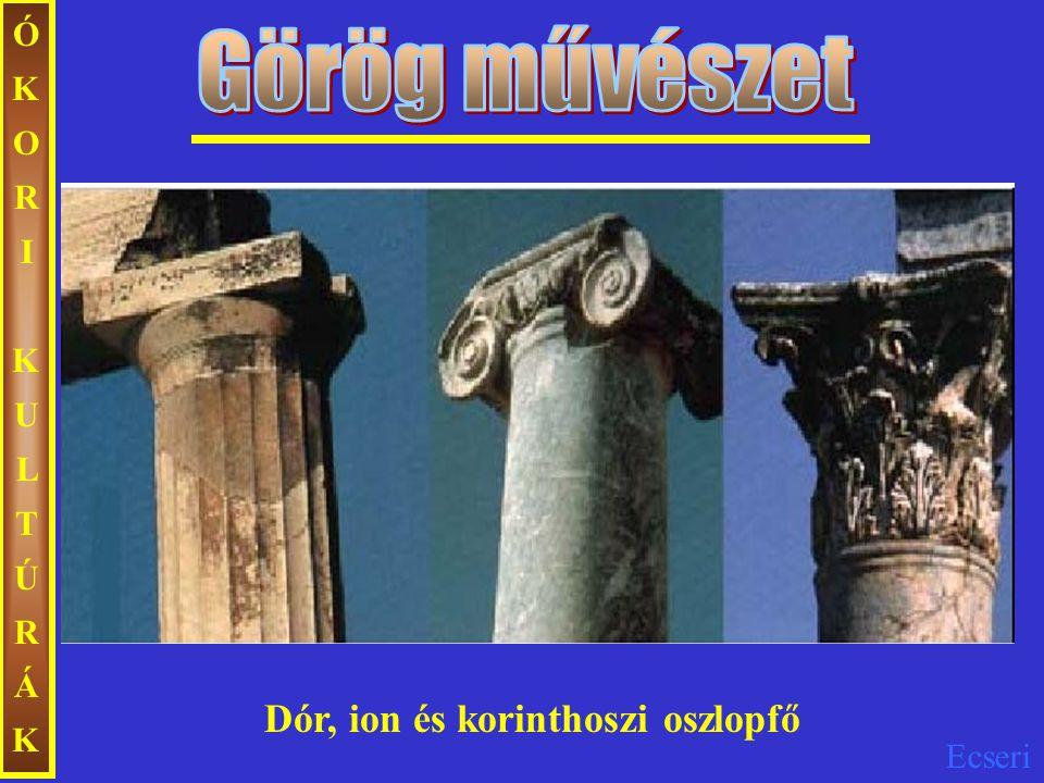 ÓKORI KULTÚRÁK Görög művészet Dór, ion és korinthoszi oszlopfő