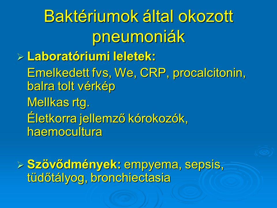 Baktériumok által okozott pneumoniák