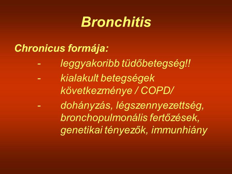 Bronchitis Chronicus formája: - leggyakoribb tüdőbetegség!!