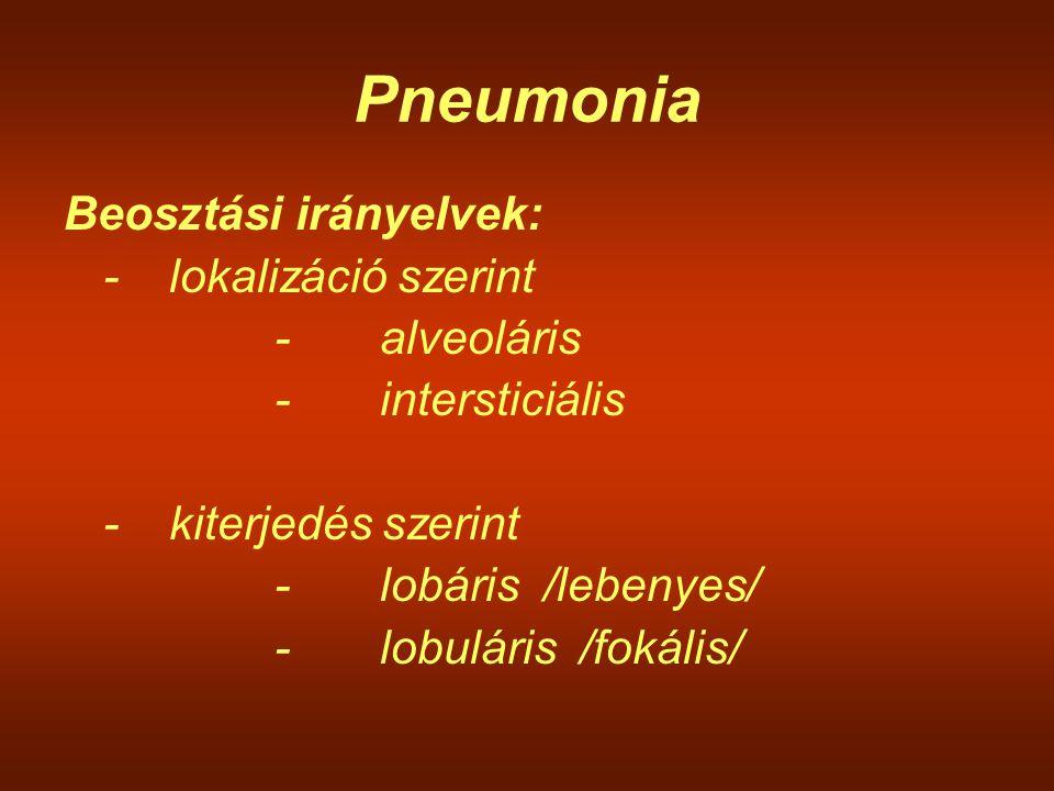 Pneumonia Beosztási irányelvek: - lokalizáció szerint - alveoláris