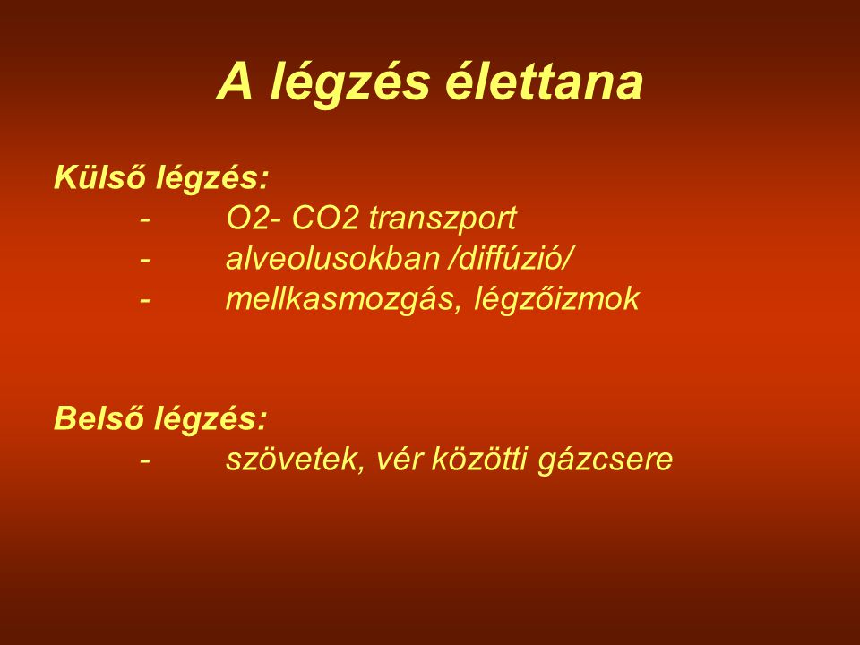A légzés élettana Külső légzés: - O2- CO2 transzport