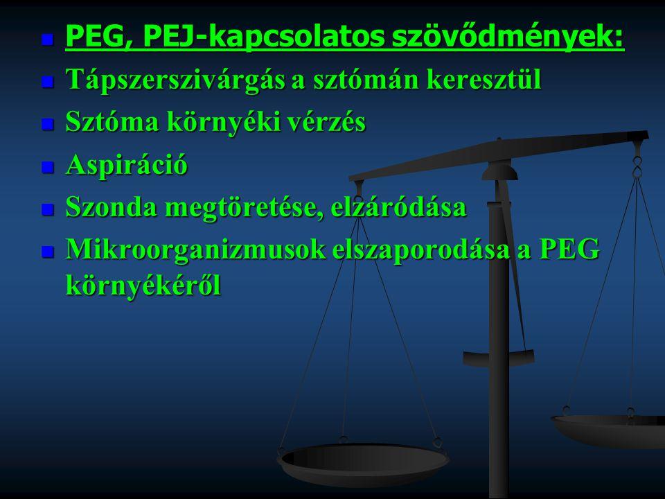 PEG, PEJ-kapcsolatos szövődmények: