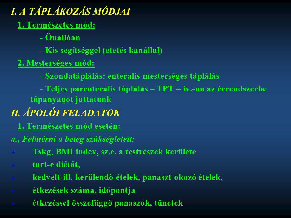 I. A TÁPLÁKOZÁS MÓDJAI II. ÁPOLÓI FELADATOK 1. Természetes mód: