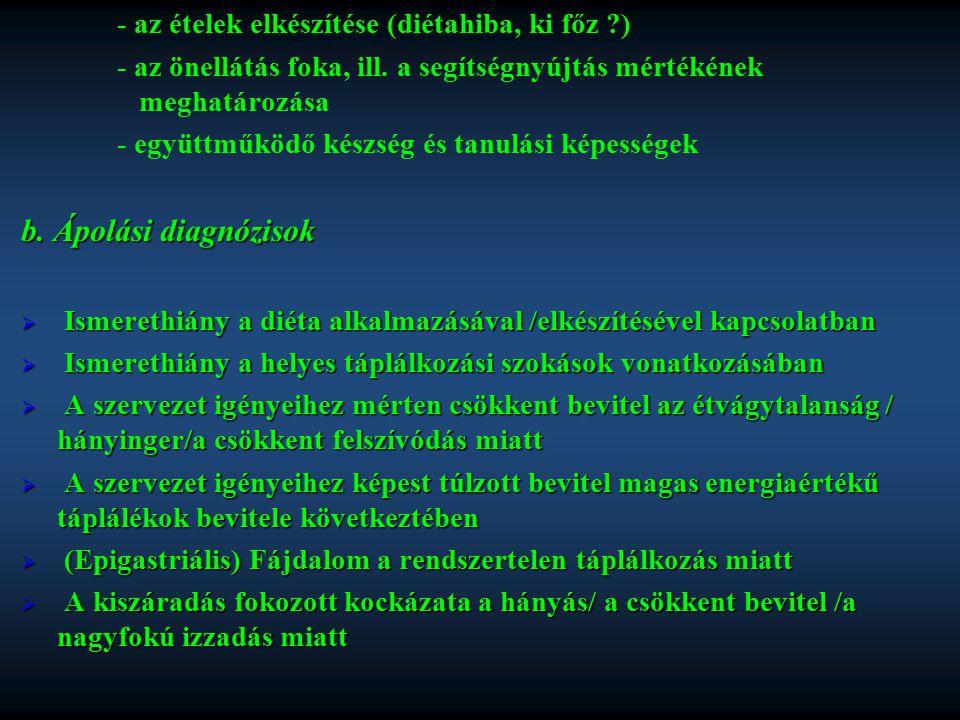 b. Ápolási diagnózisok - az ételek elkészítése (diétahiba, ki főz )