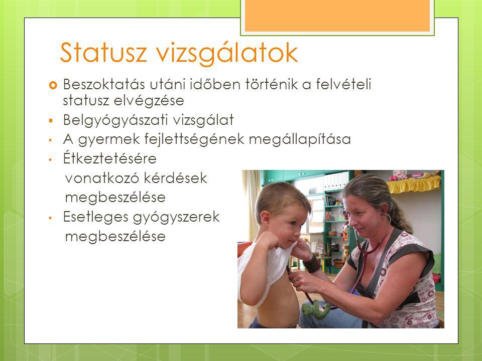 Statusz vizsgálatok Beszoktatás utáni időben történik a felvételi statusz elvégzése. Belgyógyászati vizsgálat.