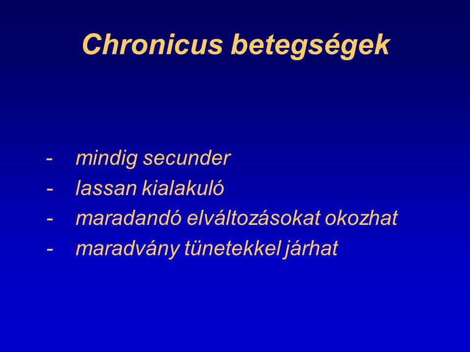 Chronicus betegségek - mindig secunder - lassan kialakuló