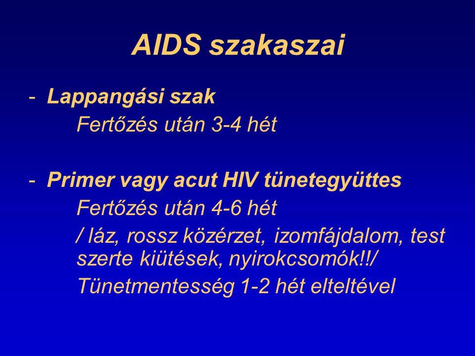 AIDS szakaszai Lappangási szak Fertőzés után 3-4 hét