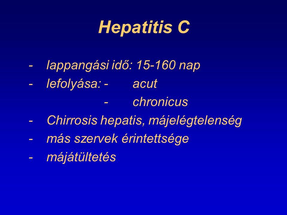 Hepatitis C - lappangási idő: 15-160 nap - lefolyása: - acut