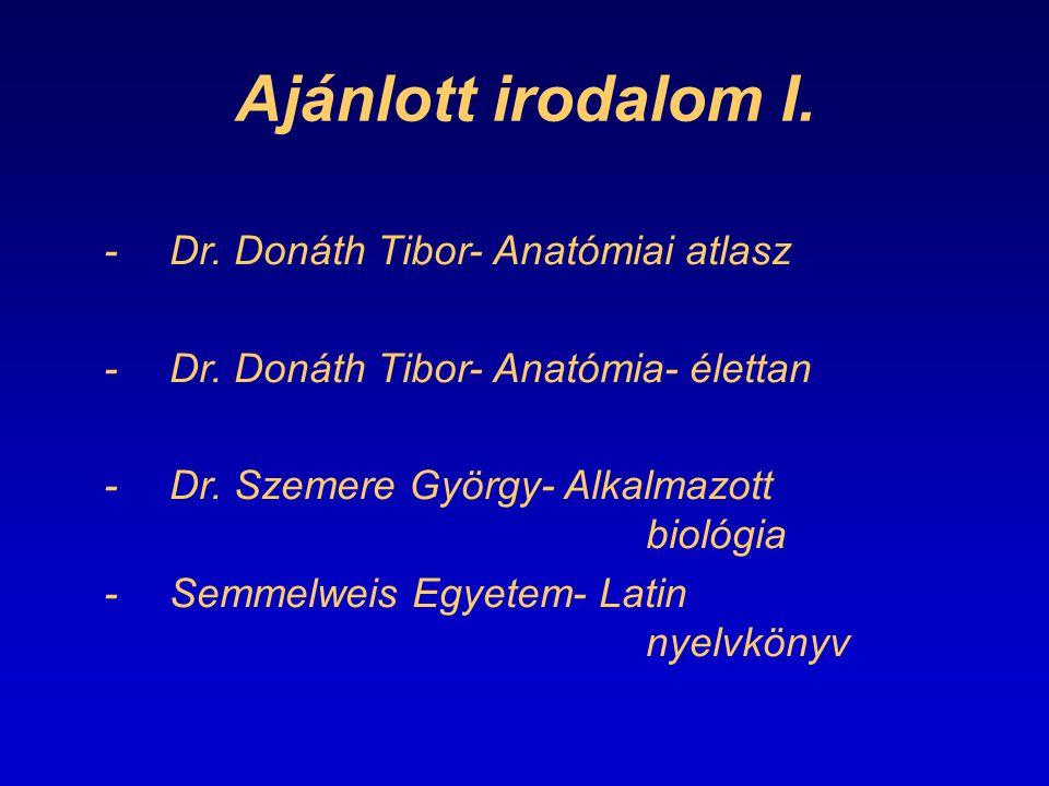 Ajánlott irodalom I. - Dr. Donáth Tibor- Anatómiai atlasz