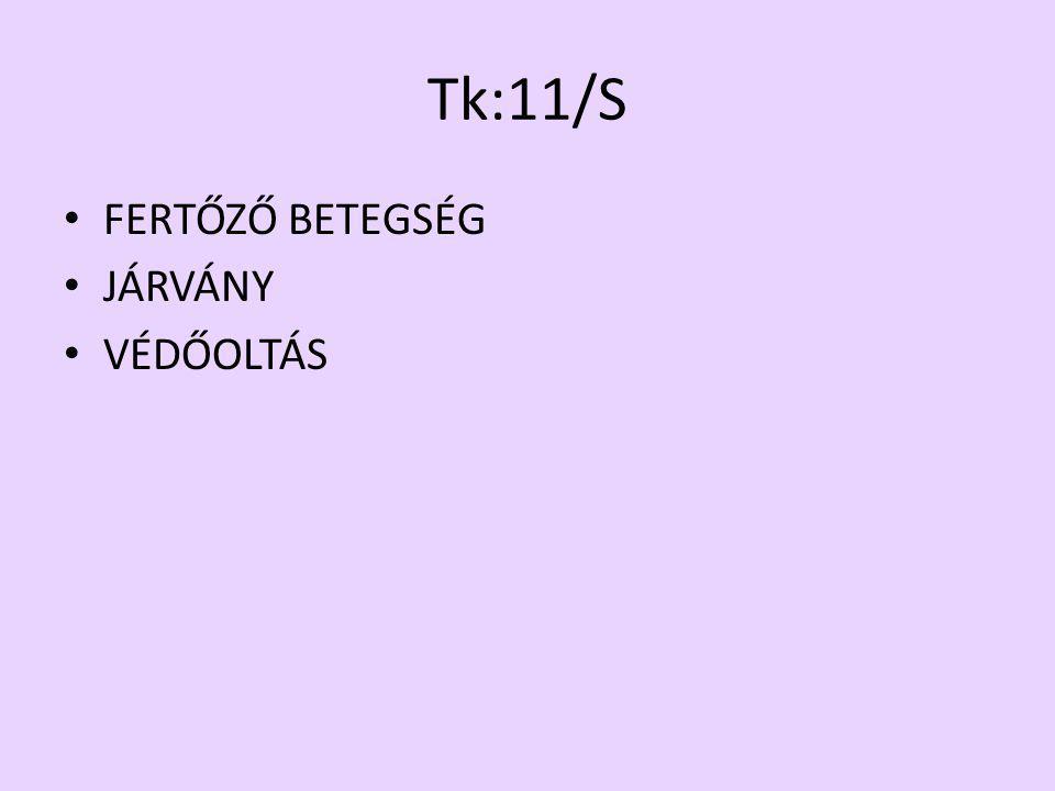 Tk:11/S FERTŐZŐ BETEGSÉG JÁRVÁNY VÉDŐOLTÁS