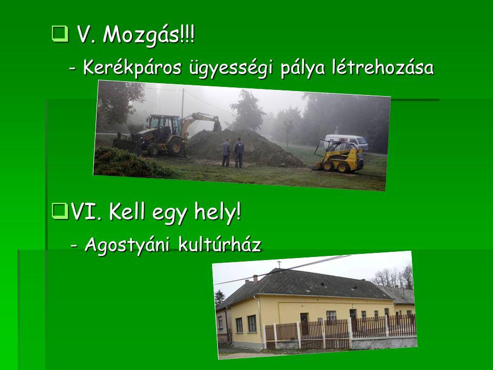V. Mozgás!!! - Kerékpáros ügyességi pálya létrehozása VI. Kell egy hely! - Agostyáni kultúrház