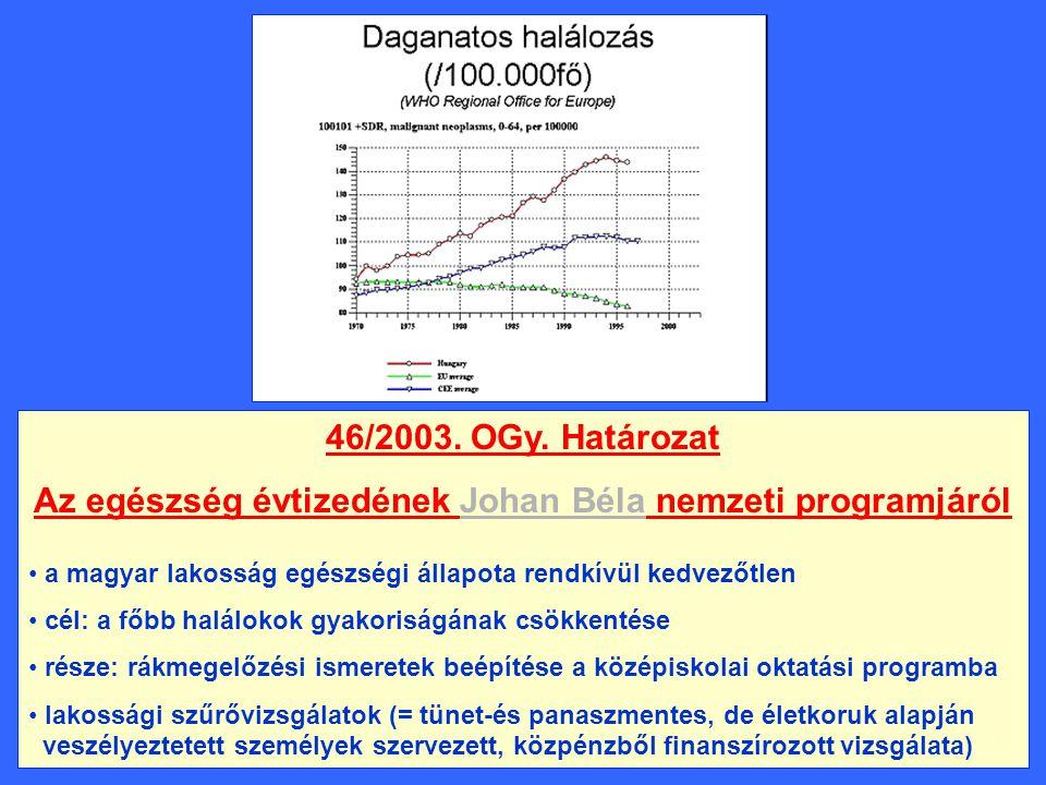Az egészség évtizedének Johan Béla nemzeti programjáról